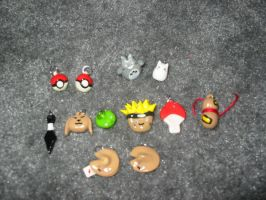 Naruto and misc. charms by tiffanybell