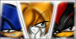 Sonic - Tails - Shadow X3 by SilverAlchemist09