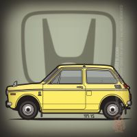 Yellow Honda N360 Kei Car by monkeycrisisonmars
