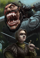 Arya and the Hound fan art by Eburone