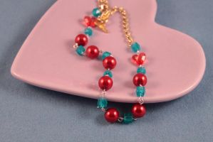 Teal and Red Pearl Necklace by PeppermintPuff