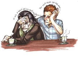 Loki and Tom : Sharing a Brew by Kabudragon