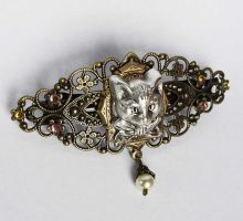 Cat filigree barrette by Pinkabsinthe