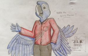 Eddie the Spix's Macaw (Anthrofied Verion) by SammfeatBlueheart