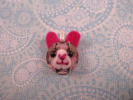 Pink Bunny Rhinestone Charm by AmiTownCreatures