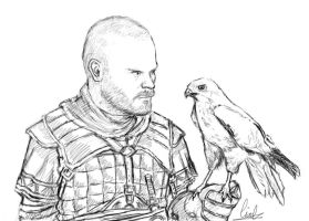 William and a bird of prey (sketch) by Bulletproof-Eggs
