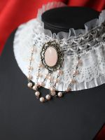 White ruffle with rose quartz and beads by RosalynGothicJewelry