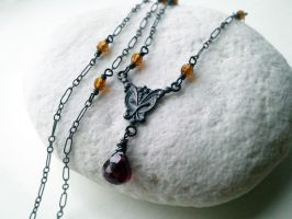 Custom Victorian Oxidized Garnet with Amber Glass by QuintessentialArts