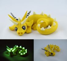 Yellow glow in dark dragon by claymeeples
