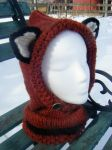 Spice with Black accents knitted fox hood, Toddler by Arexandria