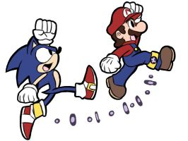 Sonic and Mario cross over doodle idea by rongs1234