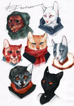 Cat-Faces Sketch by REYKAT