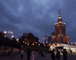 Warsaw at dusk by Margotka
