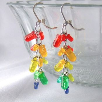 LED Cluster Earrings  Rainbow by Techcycle
