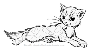 Longhaired Tortie F Lineart by WildpathOfShadowClan