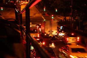 Nightshot: From the bus by maskedcrimsonrogue