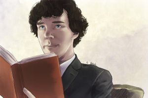 Sherlock reading (colors) by AzurLazuly