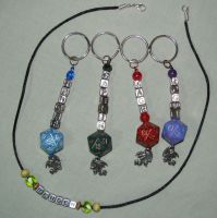 DnD keychains and necklace by merigreenleaf