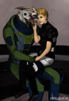 Peace in the arms of a turian by drawanon