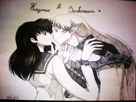 Kagome and Sesshomaru by freakydayo