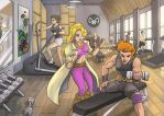 Commision: Gym Time by farenheat
