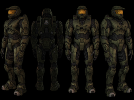 Halo 3 Chief Half Completed by Keablr