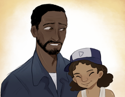 lee and clem by AziralX