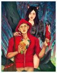 The Little Red Riding Hood and a She Wolf by JonathanChanutomo