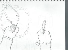 Torch and Knife First Person Sketch by ZartOfArt