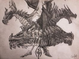 Paarthurnax and Alduin by KcKeyly