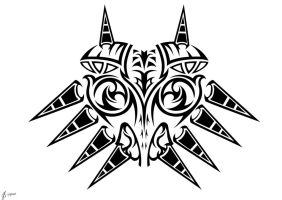 Majoras Mask Tribal BW by Sharindan-dragon
