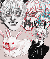 albino rabbit by pinkpuke