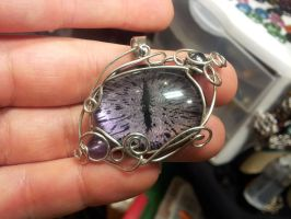 Simple wrap eye in purple color shift with black by BacktoEarthCreations