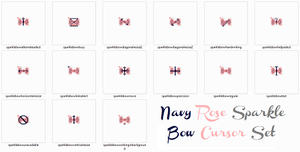 Navy Rose Sparkle Bow Animated Cursor Set by ChloeCat3