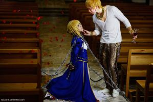 Fate -  Artoria x Gilgamesh by vaxzone