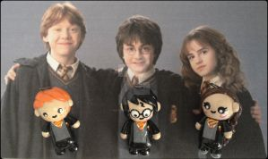 Harry Potter, Ron, and Hermione Chibi Charms by Marielishere