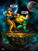 BIZARRO VS LARFLEEZE (ORANGE LANTERN) by isikol
