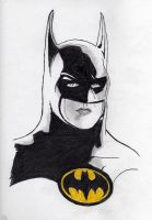 Michael Keaton as Batman by warholstein