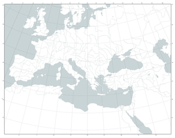 Blank Map of Europe and North Africa (graticule) by Kuusinen
