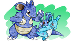 Nidoran[Female] Family [SpeedPaint and brushes DL] by DarkmaneTheWerewolf