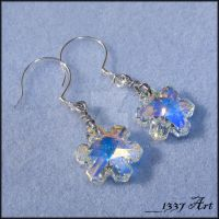 Snowflake Earrings Crystal AB by 1337-Art