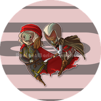 AC: Leo + Ezio Button by RaelynnMarie