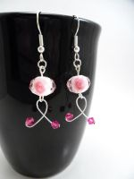 Breast Cancer Wire Ribbon Earrings by SerenityinChains