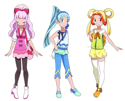 Past Princess Precure as Pokemon trainers by Hapuriainen