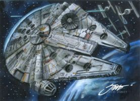 Millennium Falcon- Make it stop! Please stop. by SteveStanleyArt