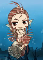 Chibi Mermaid Series - Lionfish by Mibu-no-ookami
