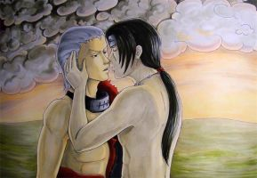 Commission: Hidan and Itachi Almost Kissing by pink-gizzy