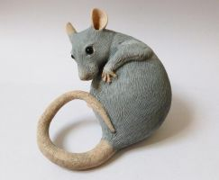 Washing Rat Sculpture Alt Angle by philosophyfox