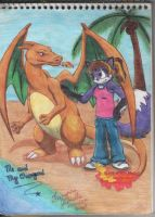 Me and my Charizard colored by laryssadesenhista