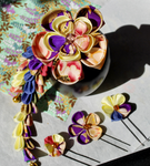 Violet, Pink and baby yellow kanzashi. Masquerade by hanatsukuri